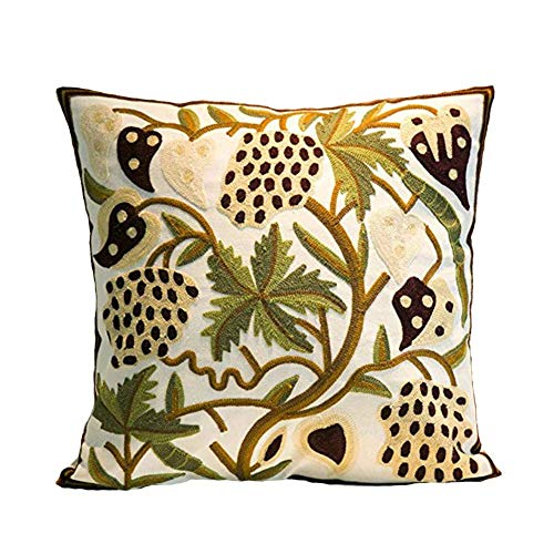 Elegant Floral Pattern Design Canvas Throw Pillow Cover Case for Couch Sofa Home Decoration Modern Style 18 X 18 Inches ()