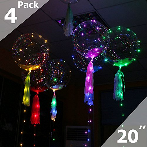 20 inches (Fully Inflated) Bubble BoBo Balloon LED String Lights, RGB Multi-Colors Bubble Lights for Party, Christmas Decoration,Birthday, Fillable with Helium and 72hours Working Time-Multi(4 Packs)