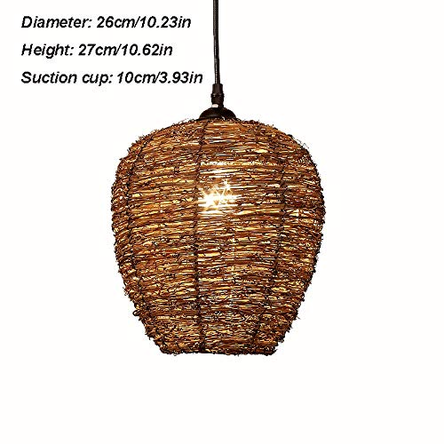 - ZXT Wicker Rattan Woven Lamp ,Bamboo Chandelier Retro Wicker Lamp Chandelier Restaurant Tea Room Ceiling Lamp Farmhouse Chandelier (2627CM)