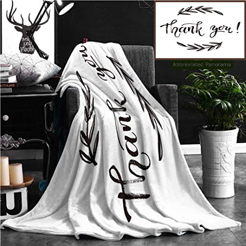 Nalagoo Unique Custom Flannel Blankets Thank You Card Thanks Isolated Hand Drawn Lettering Doodle Floral Wreath Printable Super Soft Blanketry for Bed Couch, Throw Blanket 70