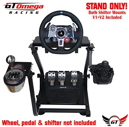 GT Omega Racing Wheel Stand for Logitech G29 Driving Force Gaming Steering Wheel, Pedals & Gear Shifter Mount V1, PS4, Xbox, Ferrari, PC - Foldable, Tilt-Adjustable to Ultimate Sim Racing ()