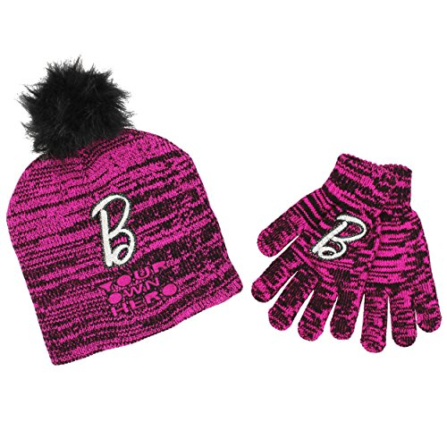 Barbie Youth Beanie Hat and Gloves Set (One Size, Hero Black/Pink) - Barbie Gloves