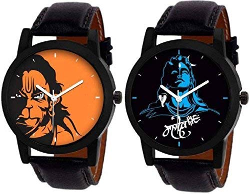 AIVOR MAHADEV and Hanuman Latest Fancy Analog Watches for Men Pack of   2