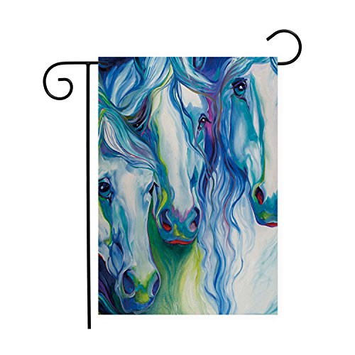 (Abstract Watercolor Horse Garden Flags House Decor Mini Yard Banner,100% Polyester )