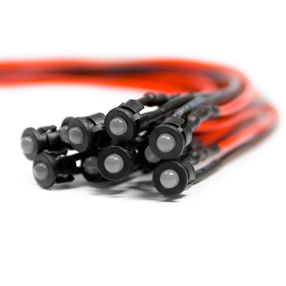 10 x Verkabelte Dioden LED Plastik Halterung pre Wired Warm Wei/ß Diffus 12V 3mm