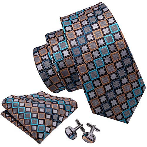 - Barry.Wang Designer Silk Ties for Men Necktie Set Handkerchief Cuff links