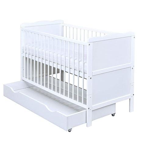 Baby Delux Babybett Kinderbett Juniorbett Teddy Mond Motiv 140x70 Wei/ß umbaubar mit Matratze