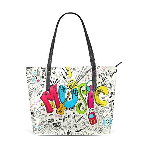 pelle in musica donne di Borsa tracolla per e Borse Bag Tote COOSUN Borsa medio le PU Doodle A muticolour wtq1XIRE