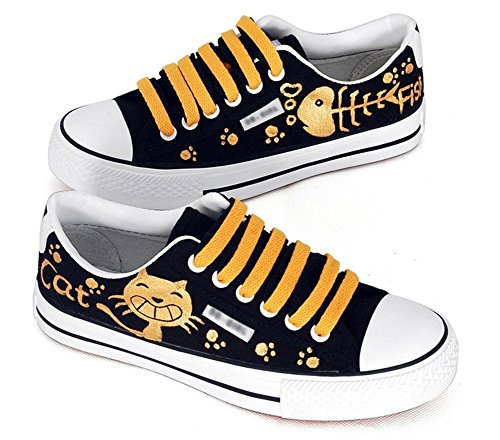D-sun Unisex Studentss Katt Fisk Handmålade Tygskor Mode Sneaker Svart