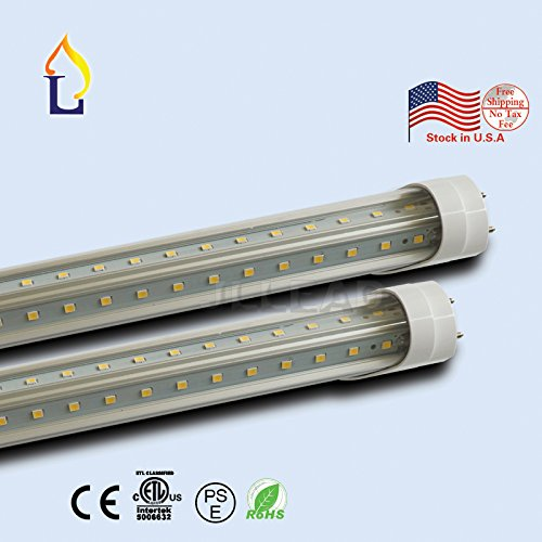 (10 PACK) ETL Stander T8 tube light 5ft 30W V shape two rows wide aluminum SMD2835 144leds white daylight 5 years warranty by JLLEAD
