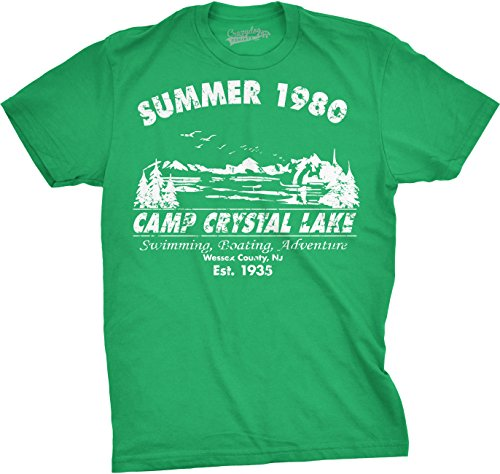 Mens Summer 1980 Mens Funny T Shirts Camping Shirt Vintage Horror Novelty Tees (Green) ()
