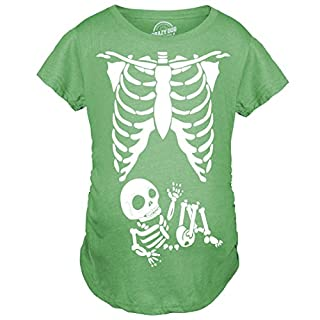 maternity skeleton baby t shirt halloween costume funny pregnancy tee for mothers green