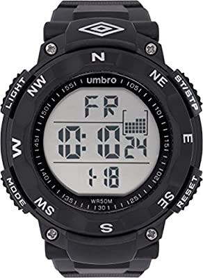 UMBRO UMB-01-1 Unisex ABS Black Band, ABS Bezel 50mm Case Digital MIYOTA 2025 Electronic Precision Movement Water Resistant 5 ATM Sport Watch
