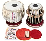 Tabla Set by Vijay Vhatkar, Concert Quality, 2.5 Kilograms Chromed Brass Bayan, Sheesham Tabla Dayan, Book, Hammer, Cushions, Cover, Tabla Drums Musical Instrument (PDI-BBE)