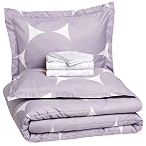 Amazon Basics 7-Piece Light-Weight Microfiber Bed-In-A-Bag Comforter Bedding Set – Full/Queen, Purple Mod Dot