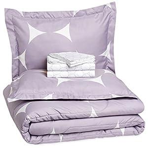 Amazon Basics 7-Piece Lightweight Microfiber Bed-In-A-Bag Comforter Bedding Set – Full/Queen, Purple Mod Dot