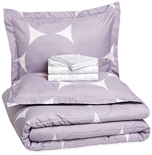 AmazonBasics 7-Piece Bed-In-A-Bag Comforter Bedding Set - Full or Queen, Purple Mod Dot