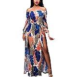 Qisc Womens Dress Boho Long Dress, Women Summer Flowers Off Shoulder Ruffle Beach Evening Party Maxi Dress Sundress (M, Multicolor)