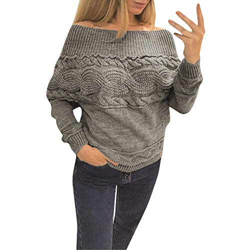 Hanican Women Winter Sweater Solid Strapless Off Shoulder Pullover Twisted Long Sleeve Knitwear, Gray, M