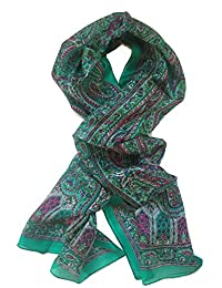 TC Women's Premium Luxury Silk Oblong Premium Elegant 100% Silk Oblong Scarf in Beautiful Green Print with Border