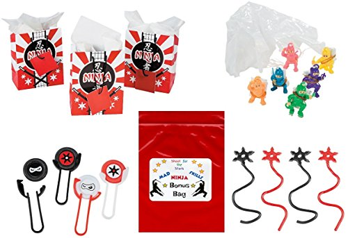 (Ninja Warrior Kid's Party Favor Bundle Pack 60 pc (12 Treat Bags, 12 Sticky Stars, 12 Disk Shooters, 24 Paratroopers))
