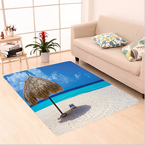 Nalahome Custom carpet ction Parasol and Chair Sunny Day in Romantic Beach Caribbean Picture Print Ivory Aqua Navy Blue area rugs for Living Dining Room Bedroom Hallway Office Carpet (36x118)