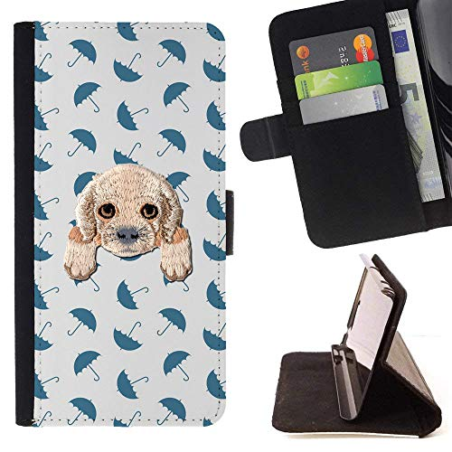 Spaniel Umbrella - [ Cocker Spaniel ] Embroidered Cute Dog Puppy Leather Wallet Case for LG V30 [ Blue Umbrella Dark Pattern ]