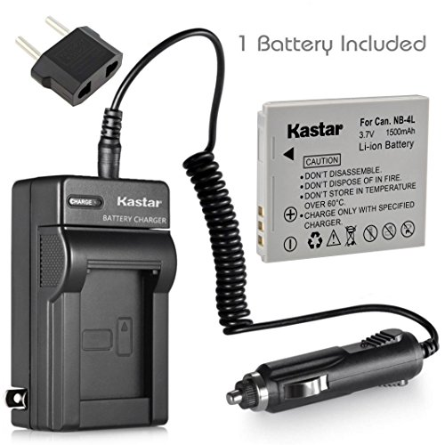 Kastar Battery and Chargerwith Car Adapter for Canon NB-4L NB4L and Canon PowerShot SD-750 SD-1000
