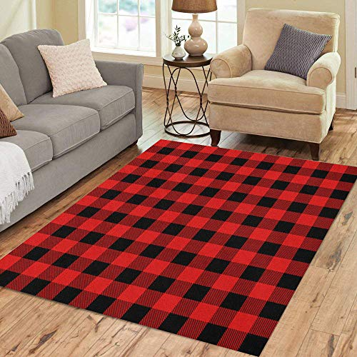 Pinbeam Area Rug Red Plaid Lumberjack Pattern Buffalo Check Black Flannel Home Decor Floor Rug 2