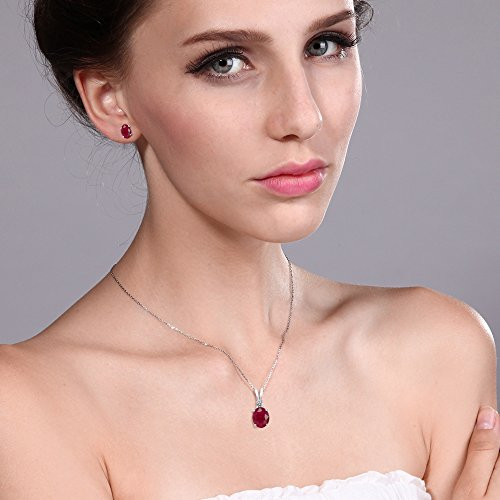 4.00 Ct Oval Red Ruby 925 Sterling Silver Pendant Earrings Set