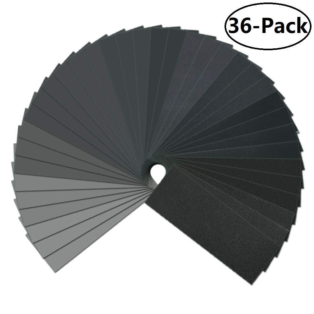 9 x 3.6 inch Automotive Polishing and Wood Furniture Finishing Dry//Wet Made of Waterproof Silicon Carbide 36-Pieces 120 to 3000 Grit Sandpaper Assortment for Metal Sanding