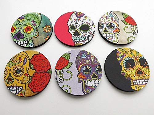 Dia de los Muertos 6 Coasters 3.5 inch neoprene halloween day of the dead sugar skulls home decor -