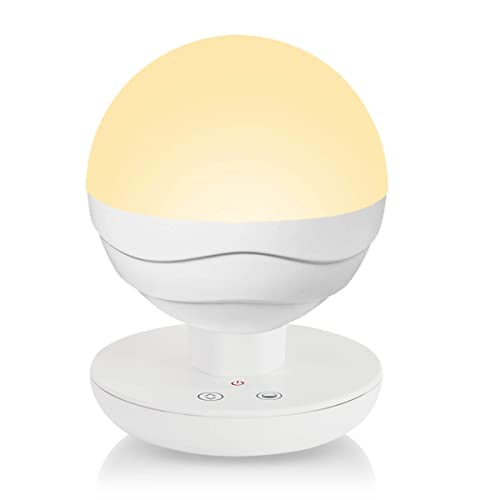 Idealeben [Upgraded Version] Children Touch Dimmable Bedside Lamps LED Baby Night Light/Reading Lights/Camping Lamp/Sleep Soothers (Round, Warm Yellow & Cold White, Built-in 2200 mAh Battery)