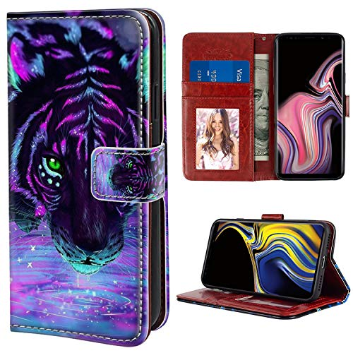 (YaoLang Samsung Galaxy Note 9 Wallet Case, Purple Tiger PU Leather Standable Wallet Phone Case with Card Holder Magnetic Hold for Samsung Galaxy Note)