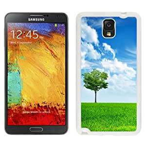 Beautiful Unique Designed Samsung Galaxy Note 3 N900A N900V N900P N900T Phone Case With Light Green Tree Grass Lockscreen_White Phone Case