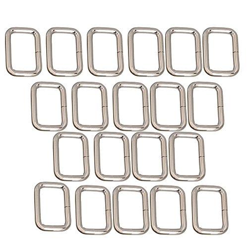 20pcs Metal Bag Purse Snap Hook 25mm Rectangle Rings Webbing Belts - Metal Rectangle