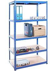 G-Rack 0026, Blauw, 180cm x 90cm x 60cm, 5 tier (175 KG per plank), 875KG capaciteit extra diepe garage schuur opslag rekken eenheid