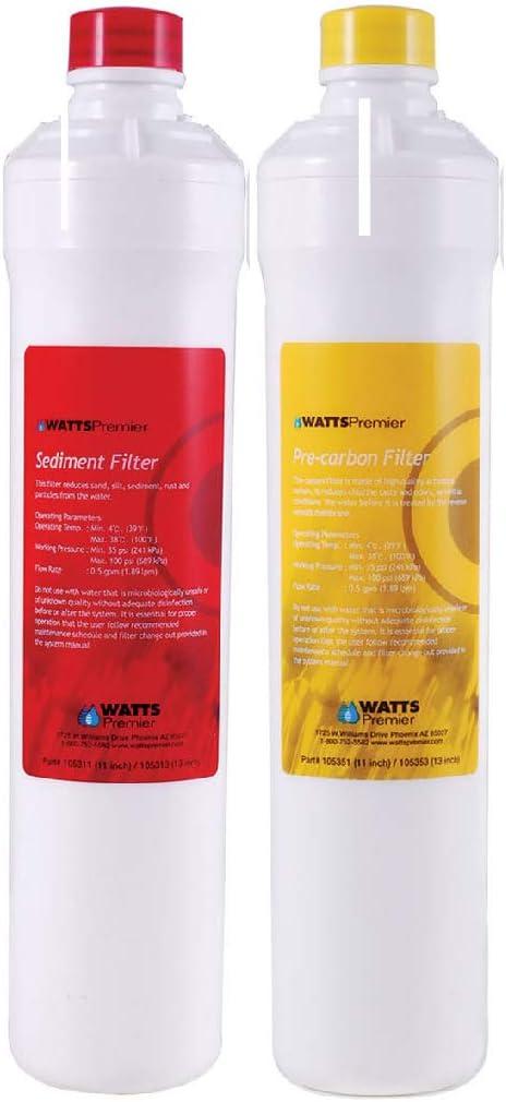 Watts Premier WP531102 RO Pure/ Pure Plus Push Button Bi-Annual Filter Kit