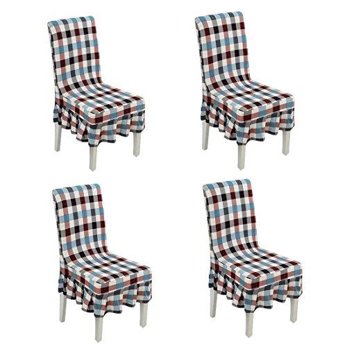 Deisy Dee Print Pattern Ruffled Long Skirt Dining Chair Slipcovers (Pack of 4) C028 - Dining Ruffled Chair Slipcover
