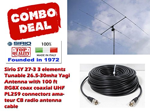 Sirio SY 27-3 3 Elements Yagi Beam CB/10Meter Antenna 100Ft Coax Cable