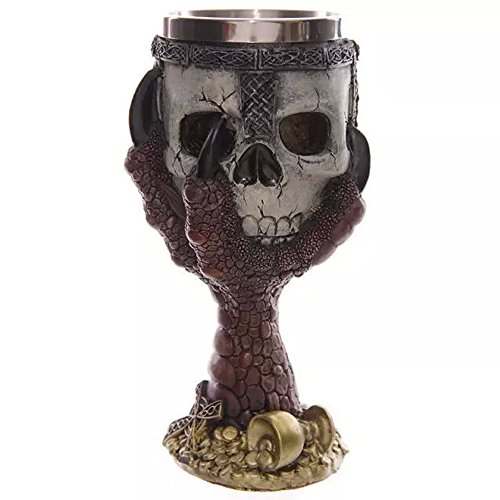- Skull Head with Claw Golbet Drinking Cup Stainless Steel Medieval Skeleton Chalice Skull Cup Dragon Claw Double Wall Drinking Goblet Red