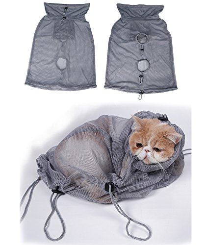 MATOP-Cat-Grooming-Bag-Adjustable-Polyester-Mesh-Cat-Restraint-Bag-Scratch-Biting-Resisted-for-Grooming-Bathing-Nail-Trimming-Injecting-Examing-Medication-L-Grey