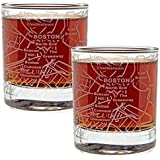 Etched Old Fashioned Whiskey Glasses - with Gift Box | 2 City Map Tumblers - Boston, MA