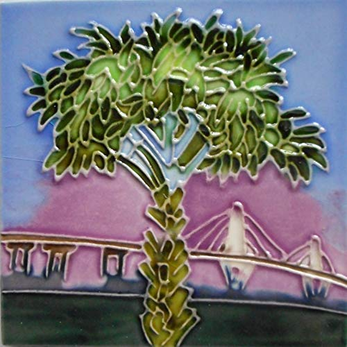 Tile Tree Palm Ceramic - Cooper river bridge and palm tree ceramic art tile coaster 4 x 4 inches easel back