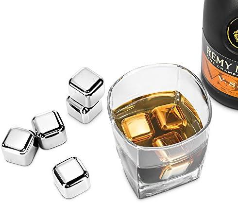 Edelstahl Eiswürfel Ice Cubes Set von Riversong, 8 Wiederverwendbare Whisky Steine mit Zange, Zertifizierung FDA Zertifikat & BPA-frei