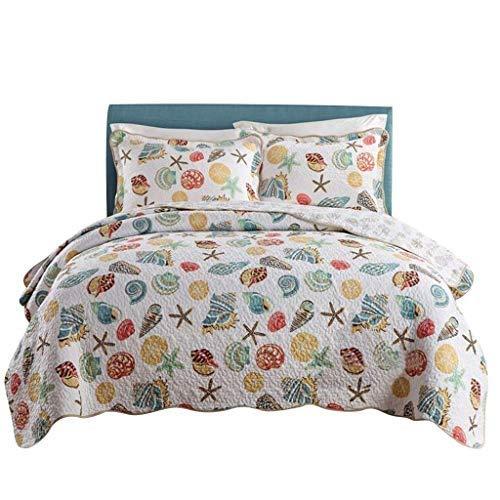 ベッドライニング キルトのベッドカバースーパーソフトコーラルオーシャン寝具セット貝殻ビーチテーマパッチワークキルトセット掛け布団セット 写真ベッドライニング B07SSY2Q6Z