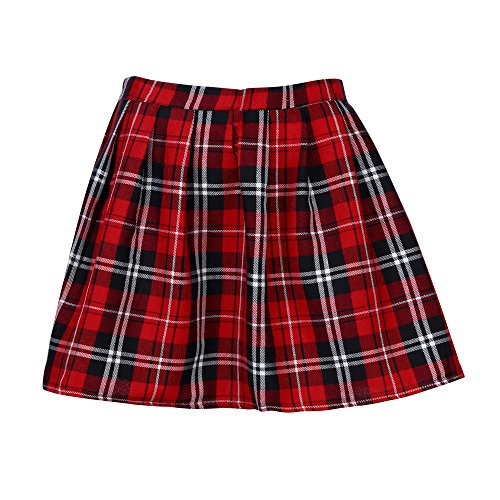 Henwerd Girls Fashion Casual School Uniform Pleated Loose Short Skirt Patchwork Straight Cotton High Waisted Mini Skirt (Red, M) -