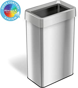 iTouchless 21 Gallon Rectangular Open Top Trash Can and Recycle Bin with AbsorbX Odor Control System, Ultra Space-Saving Large Capacity Commercial Grade for Home, Office, Garage, Stainless Steel