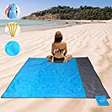 "YOYI Sand Free Beach Blanket,Extra Large Beach Mat,Lightweight Camping Tarp,Compact Pocket Blanket for Travel,Camping,Hiking and Music Festivals,Durable Tarp with 4 Stakes & 4 Corner Pockets(69"" X78"")"