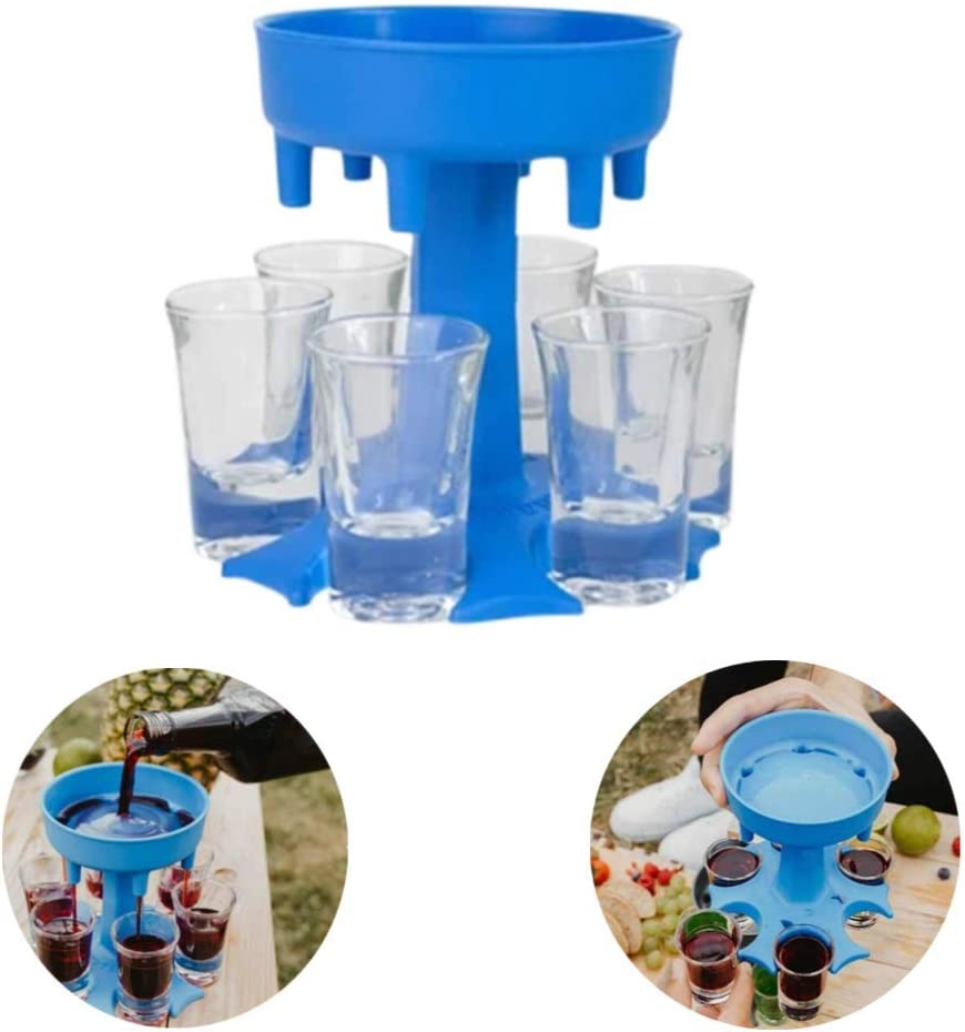 Shot Glass Dispenser, Glasses Hanging Holder Stand Rack, Drinking Liquor Dispenser, Carry Caddy Dispenser, for Bar Cocktail Party Weekand Camping (Blue)